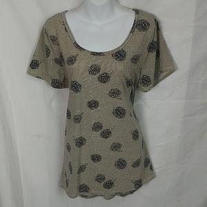 4/20 Lularoe rose pattern stripe hi low tunic top